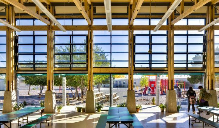legno anche per la scuola di cottonwood valley, interamente in legno